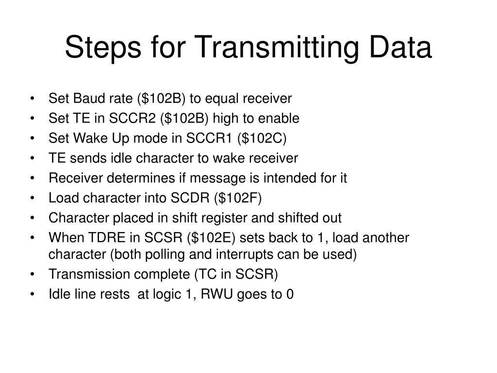 Steps for Transmitting Data