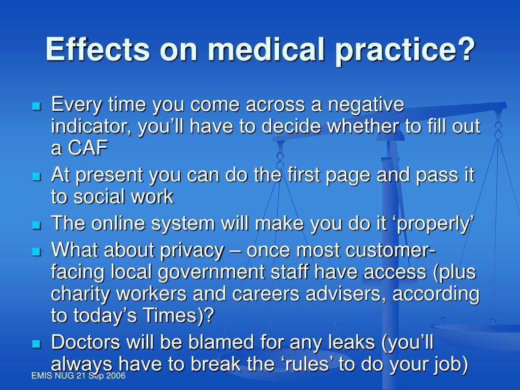 Effects on medical practice?