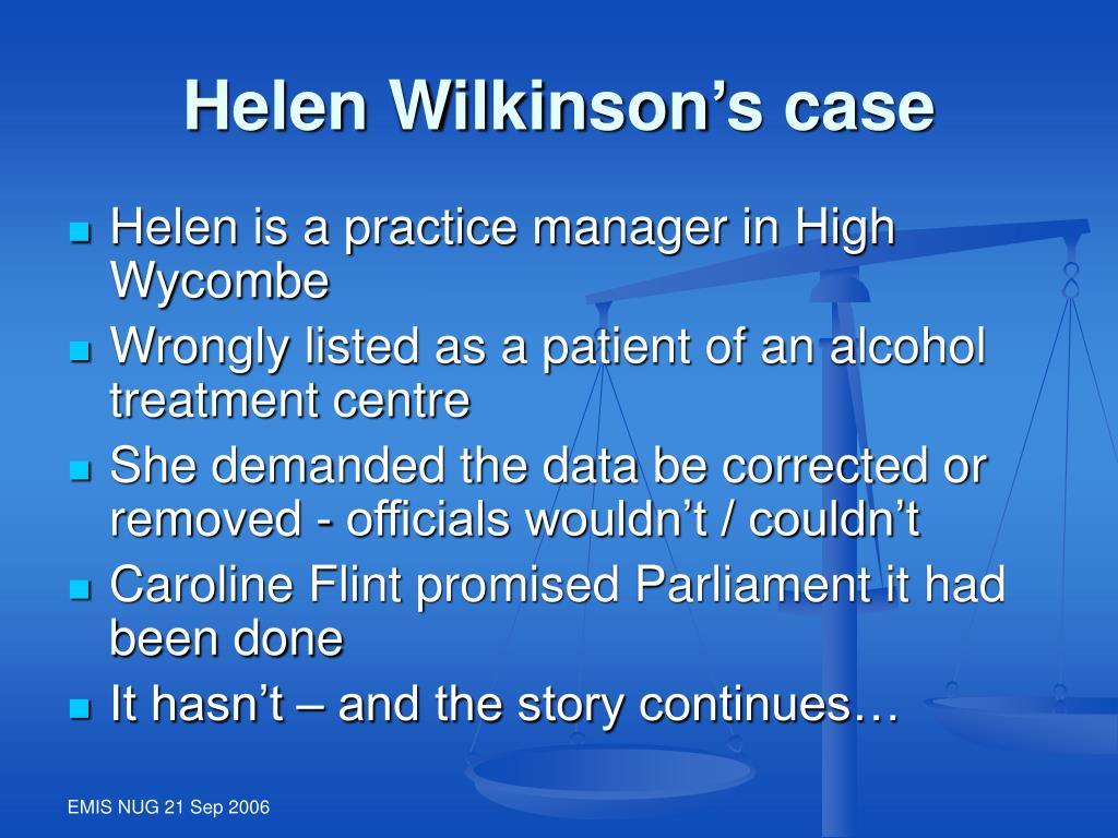 Helen Wilkinson's case