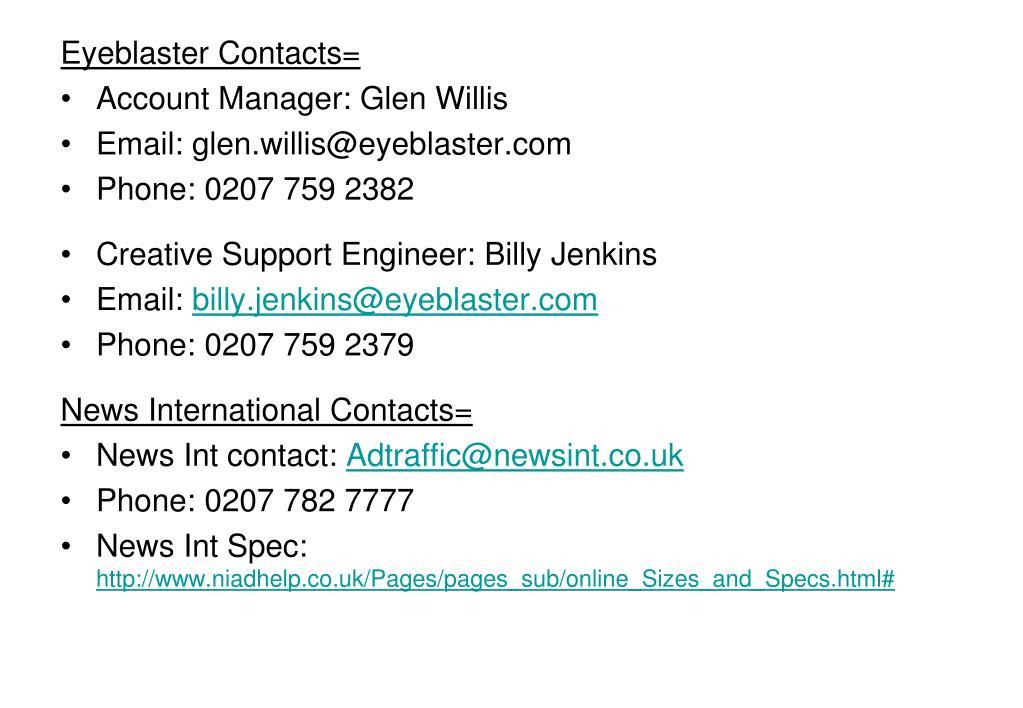 Eyeblaster Contacts=