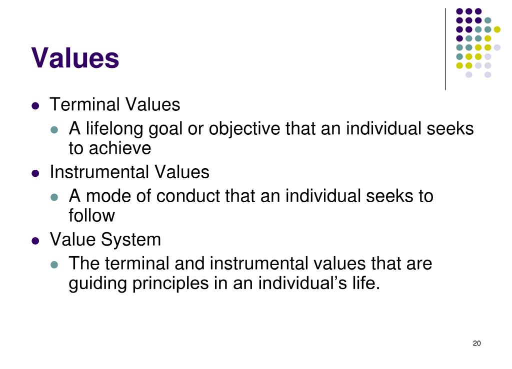 terminal and intrumental values View notes - terminal and instrumental values from mgmt 292 at vancouver island university honest (sincere, truthful) a sense of accomplishment (a lasting contribution) imaginative (daring.