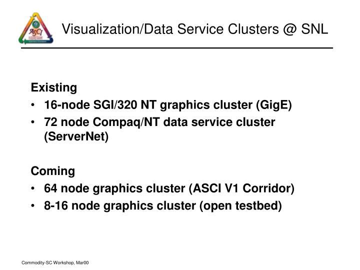 Visualization/Data Service Clusters @ SNL