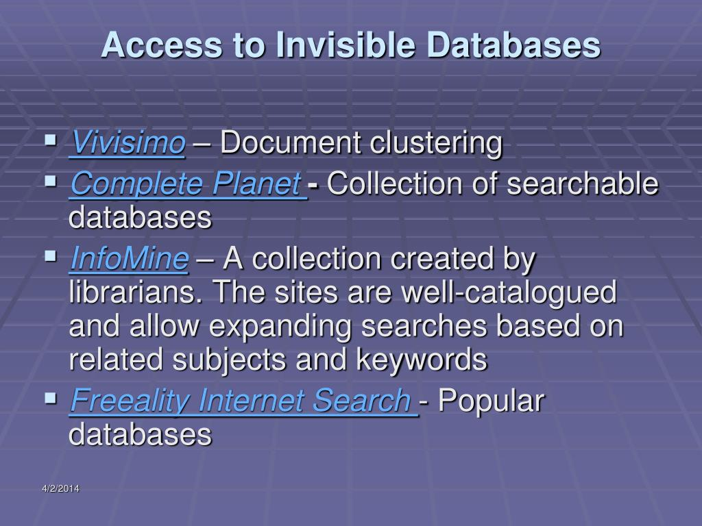 Access to Invisible Databases