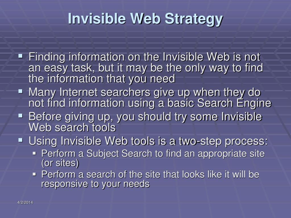 Invisible Web Strategy