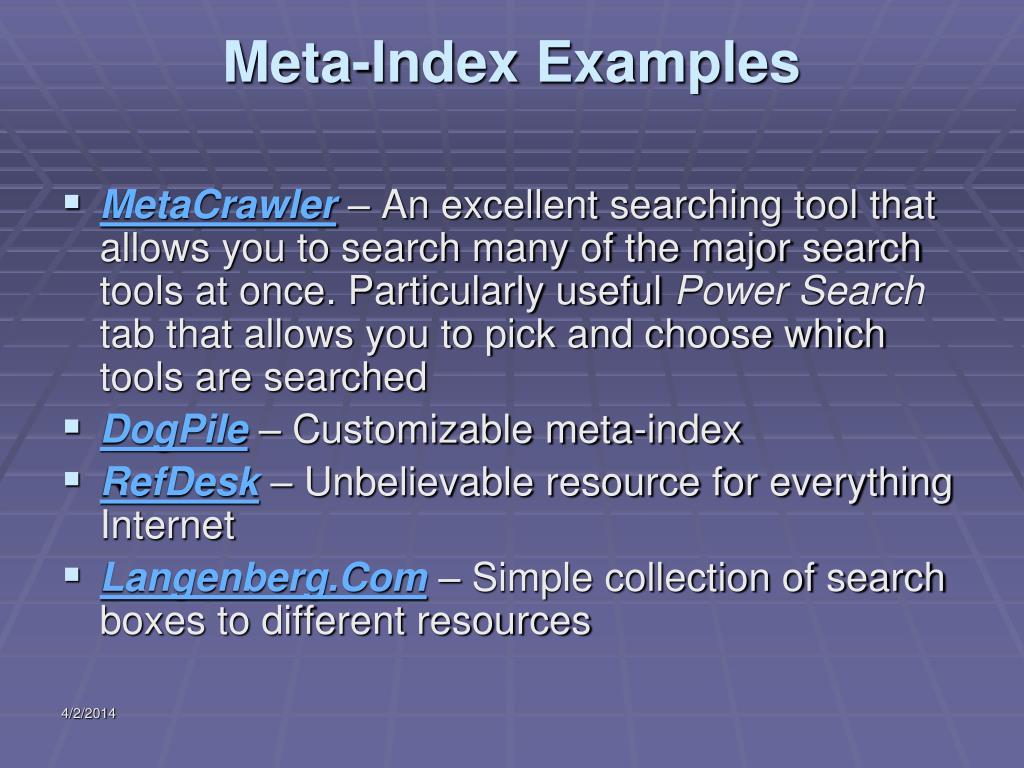 Meta-Index Examples
