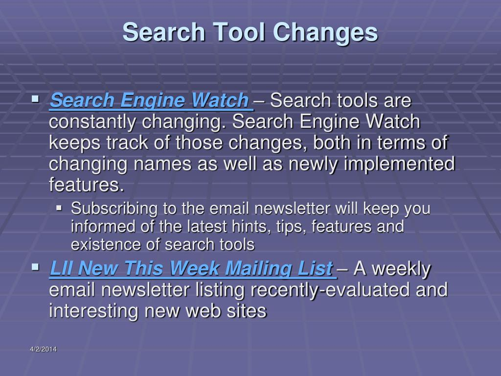 Search Tool Changes