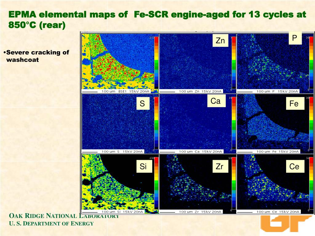 EPMA elemental maps of  Fe-SCR engine-aged for 13 cycles at 850