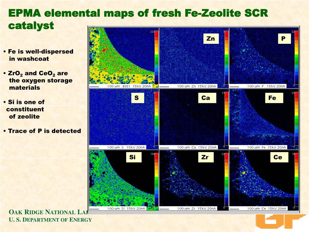 EPMA elemental maps of fresh Fe-Zeolite SCR catalyst