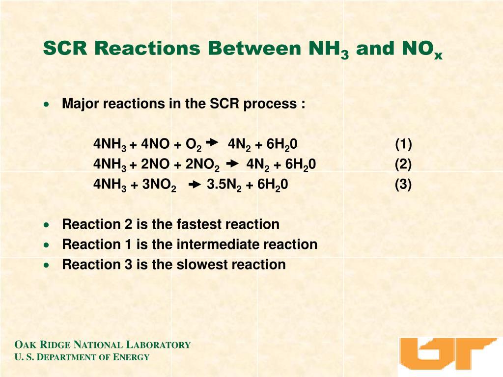 SCR Reactions Between NH