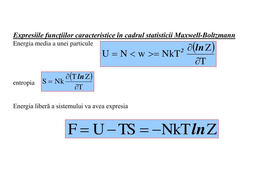 Expresiile funcţiilor caracteristice în cadrul statisticii Maxwell-