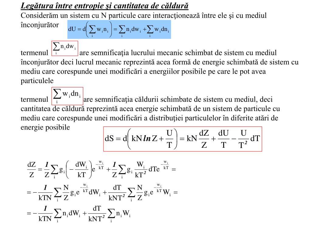 Legătura între entropie şi cantitatea de căldură