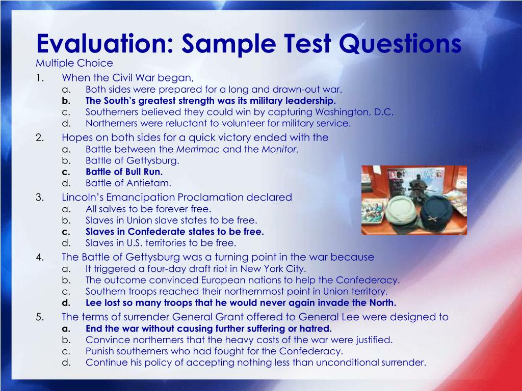 Evaluation: Sample Test Questions