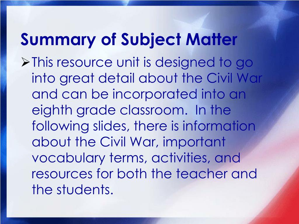 Summary of Subject Matter