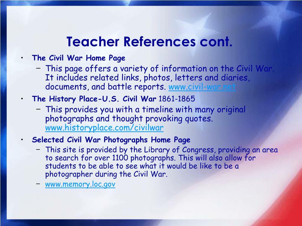 Teacher References cont.