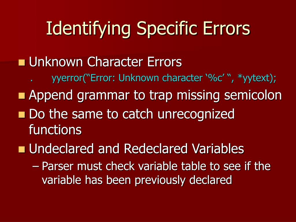 Identifying Specific Errors