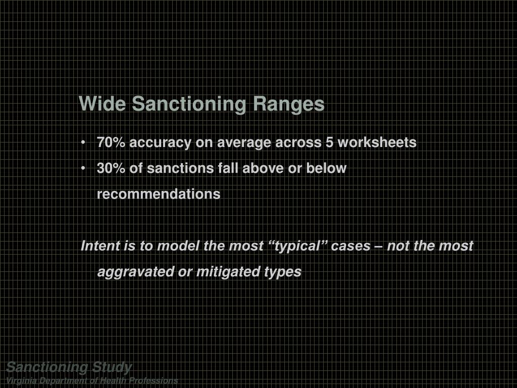 Wide Sanctioning Ranges