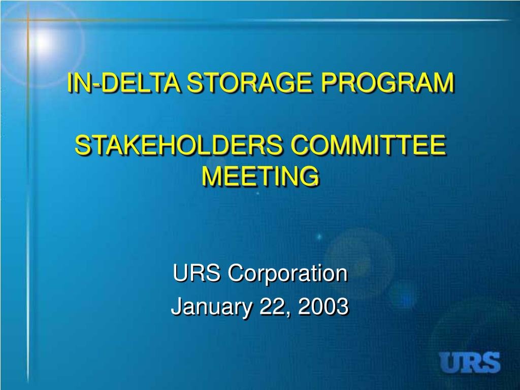 in delta storage program stakeholders committee meeting