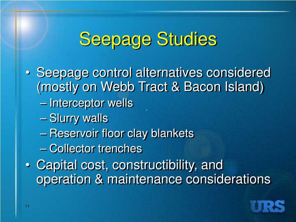 Seepage Studies