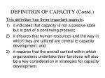 definition of capacity contd