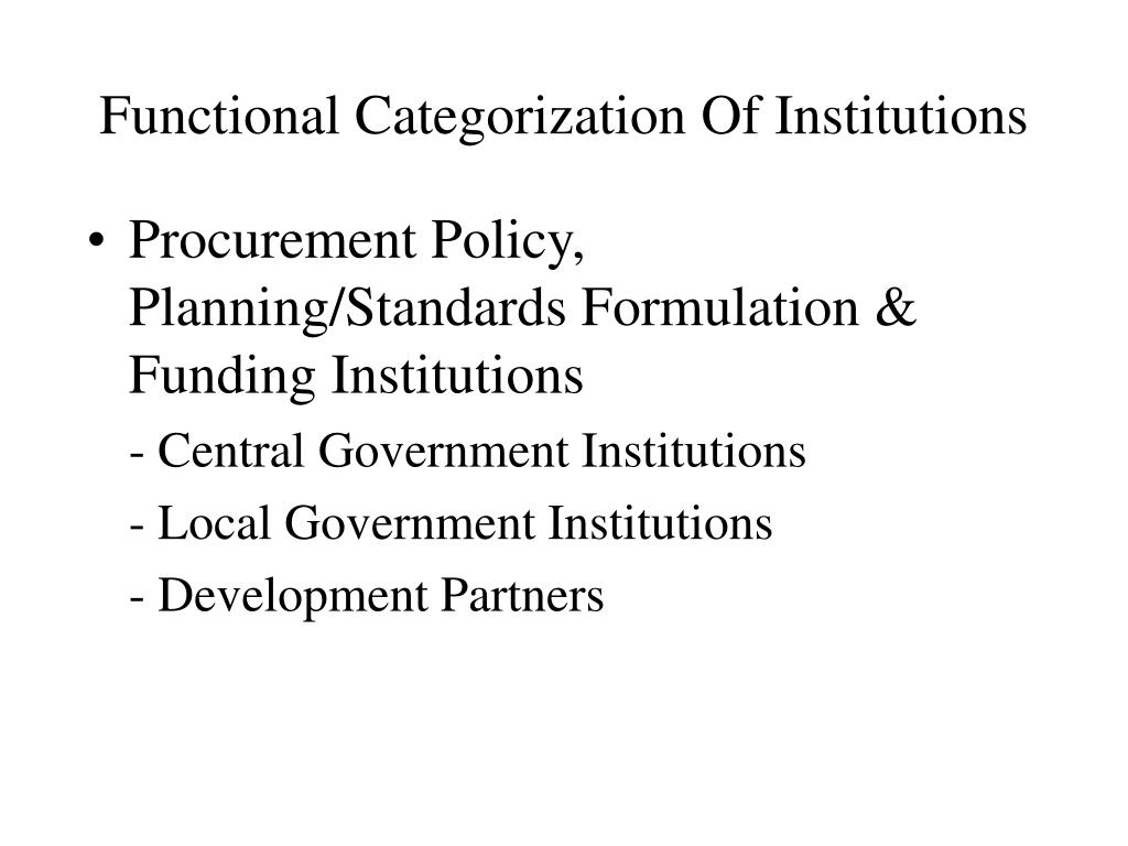 Functional Categorization Of Institutions