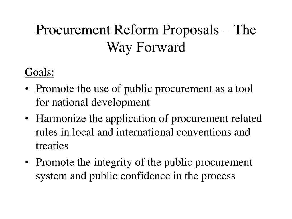Procurement Reform Proposals – The Way Forward
