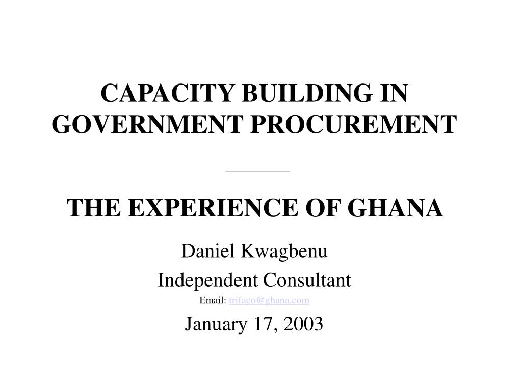 CAPACITY BUILDING IN GOVERNMENT PROCUREMENT