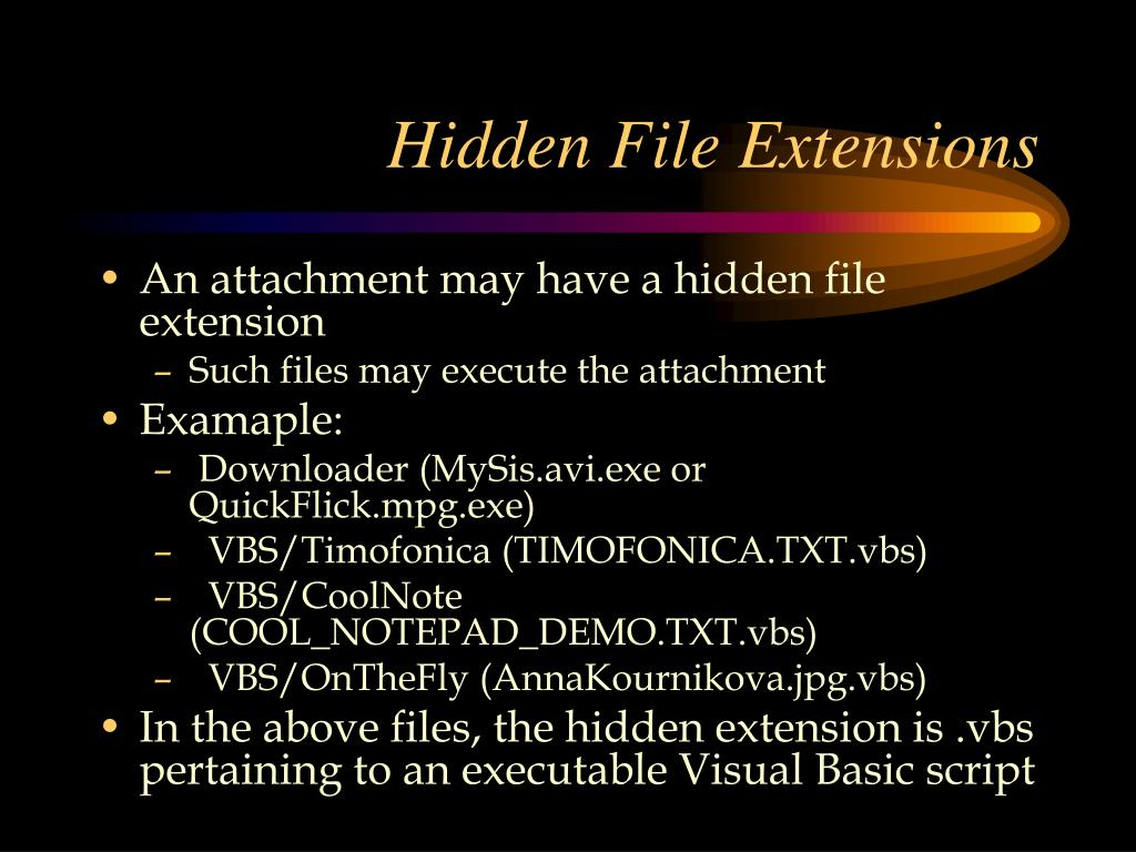 how to show hidden files extensions