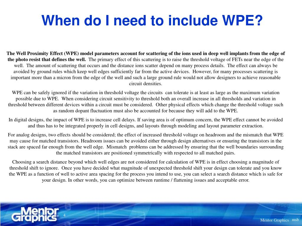 When do I need to include WPE?