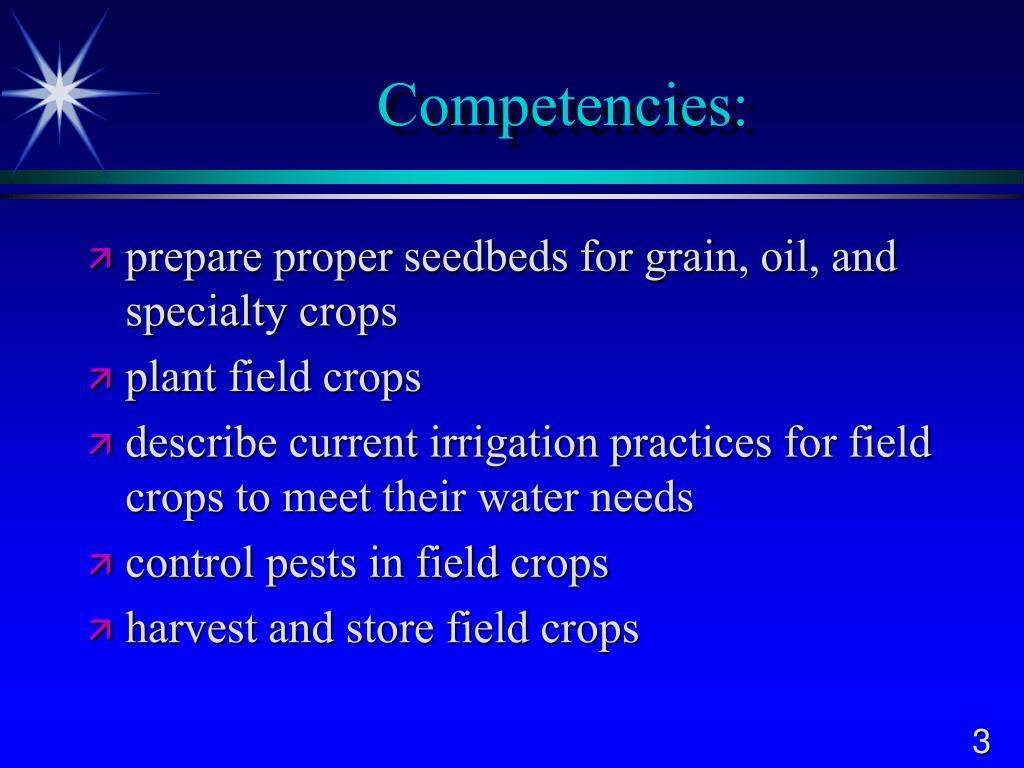 Competencies: