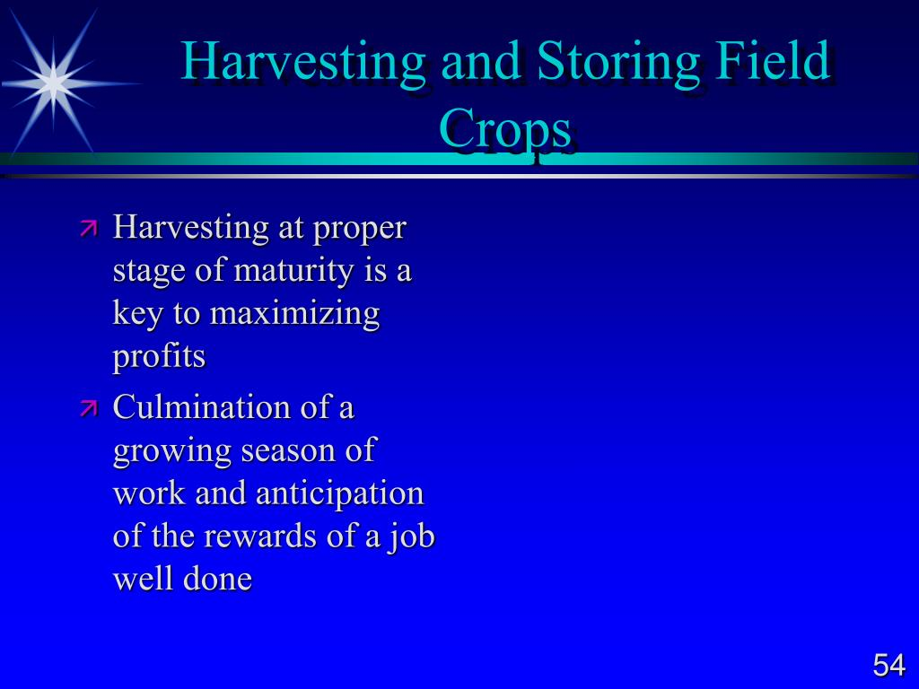 Harvesting and Storing Field Crops