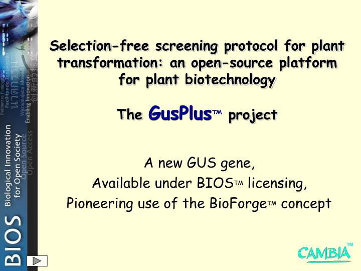 Selection-free screening protocol for plant transformation: an open-source platform for plant biotec...