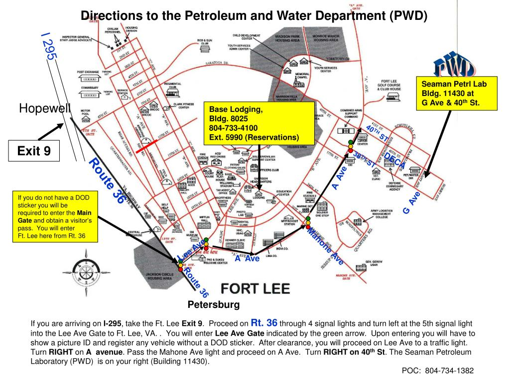 Directions to the Petroleum and Water Department (PWD)
