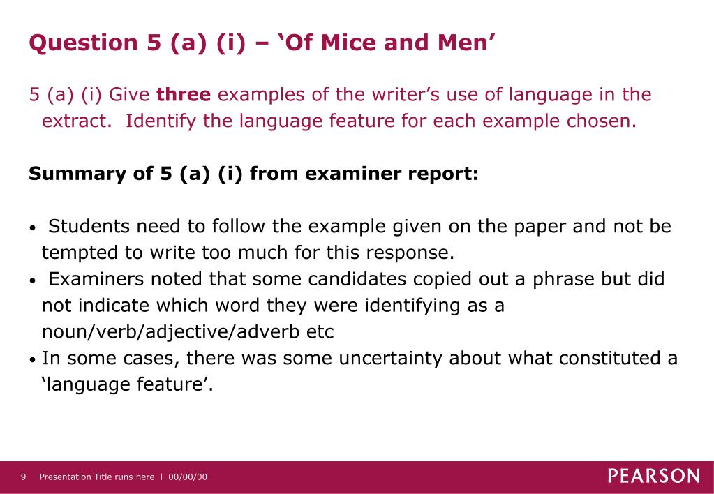 Question 5 (a) (i) – 'Of Mice and Men'