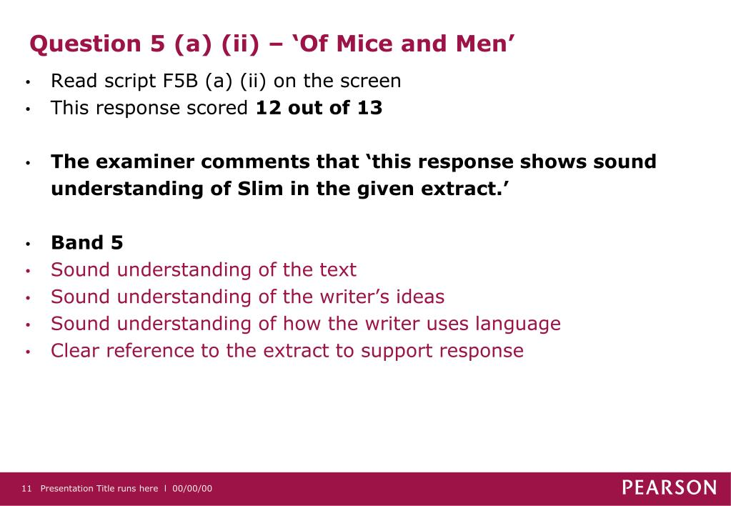 Question 5 (a) (ii) – 'Of Mice and Men'