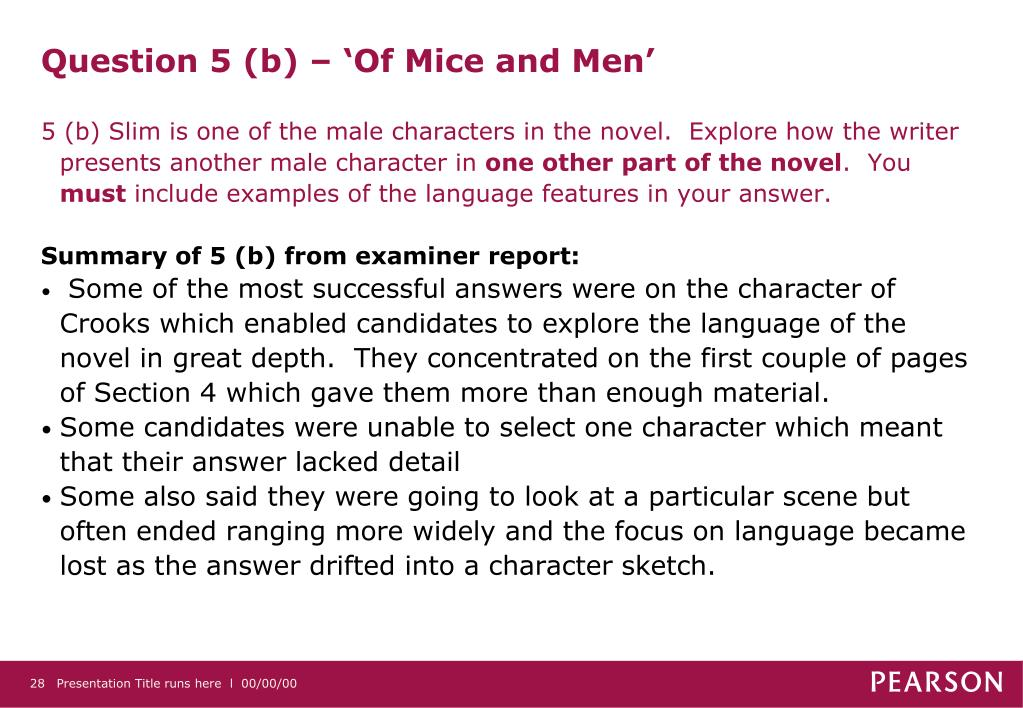 Question 5 (b) – 'Of Mice and Men'
