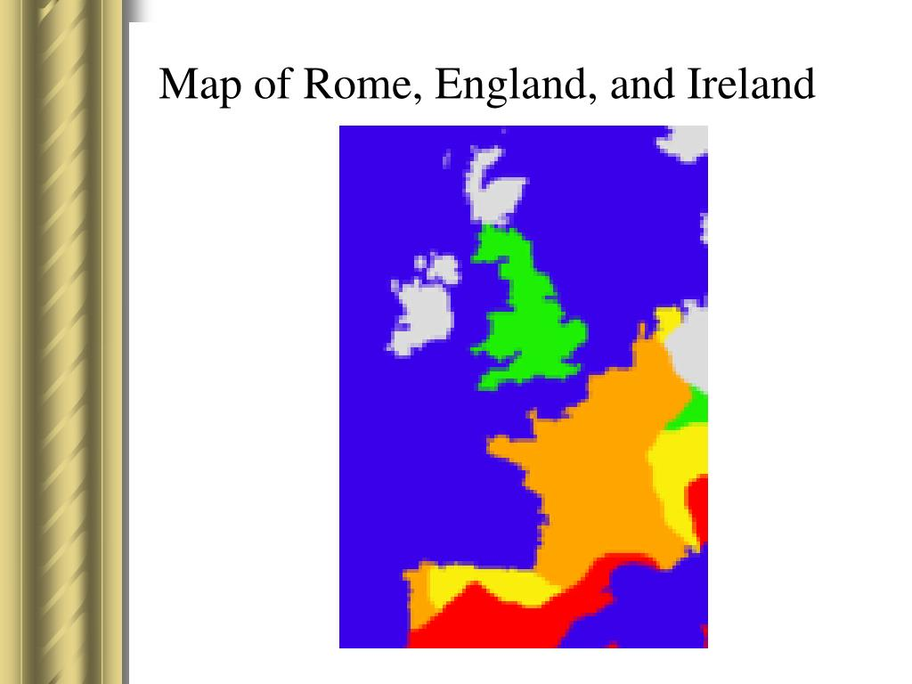 Map of Rome, England, and Ireland