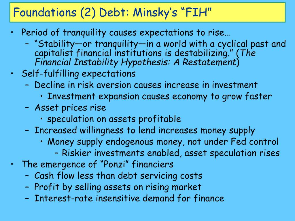 "Foundations (2) Debt: Minsky's ""FIH"""