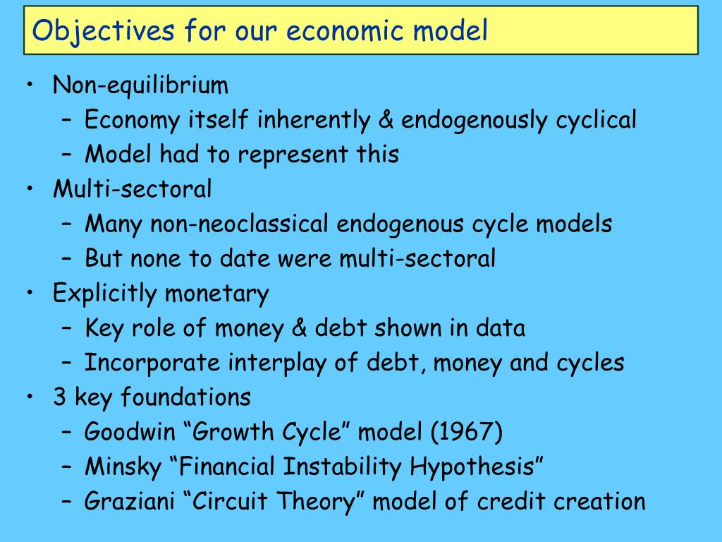 Objectives for our economic model