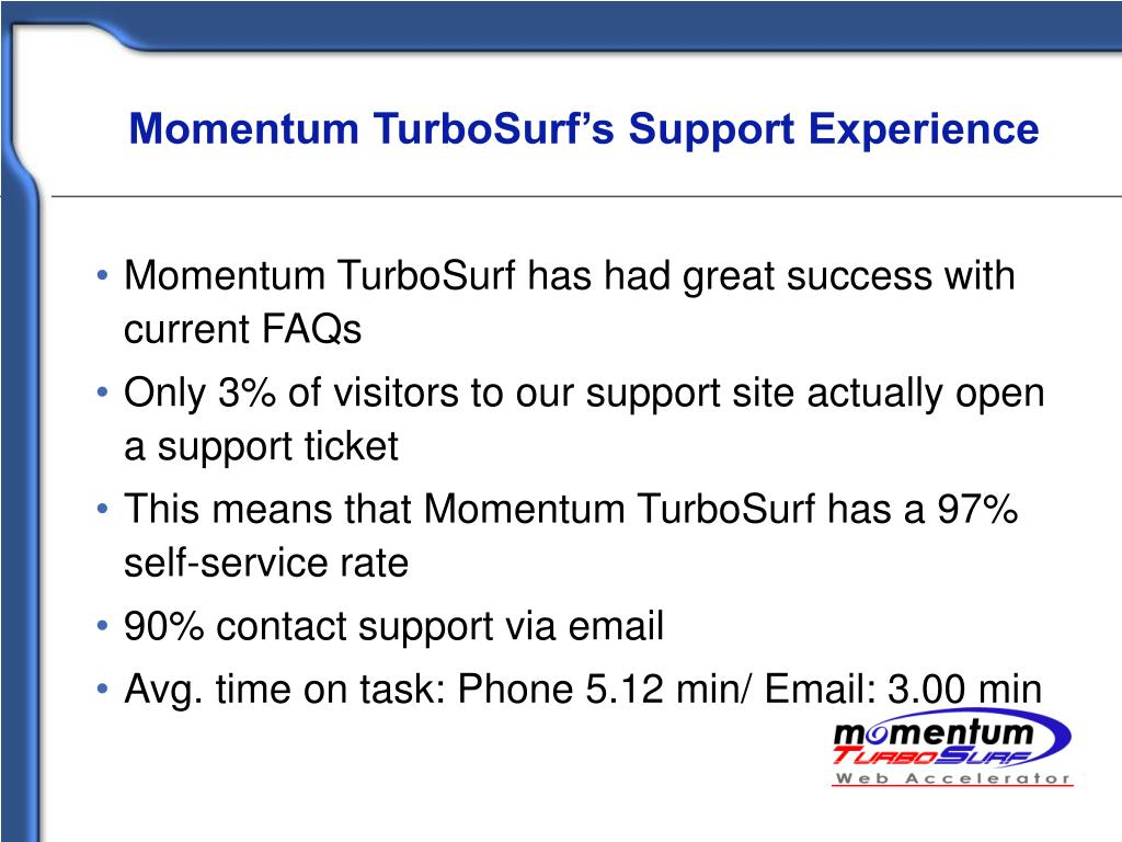 Momentum TurboSurf's Support Experience