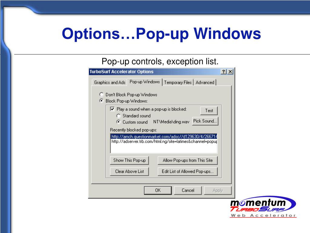 Options…Pop-up Windows
