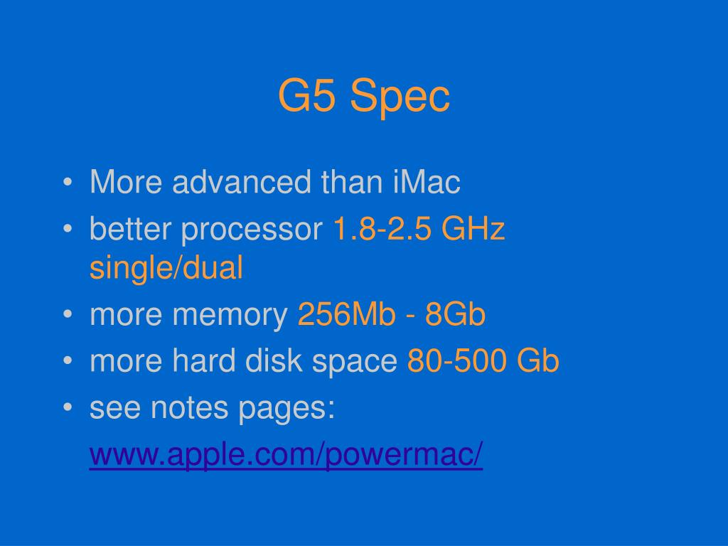 G5 Spec