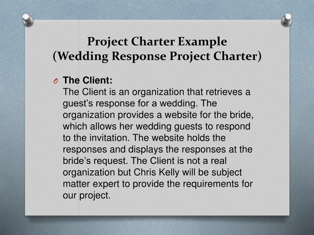 construction of new plant project charter example Manage deliverables - construction throughout construction the a/e and project manager will review and approve a number of contractor deliverables some of these items include but are not limited to.