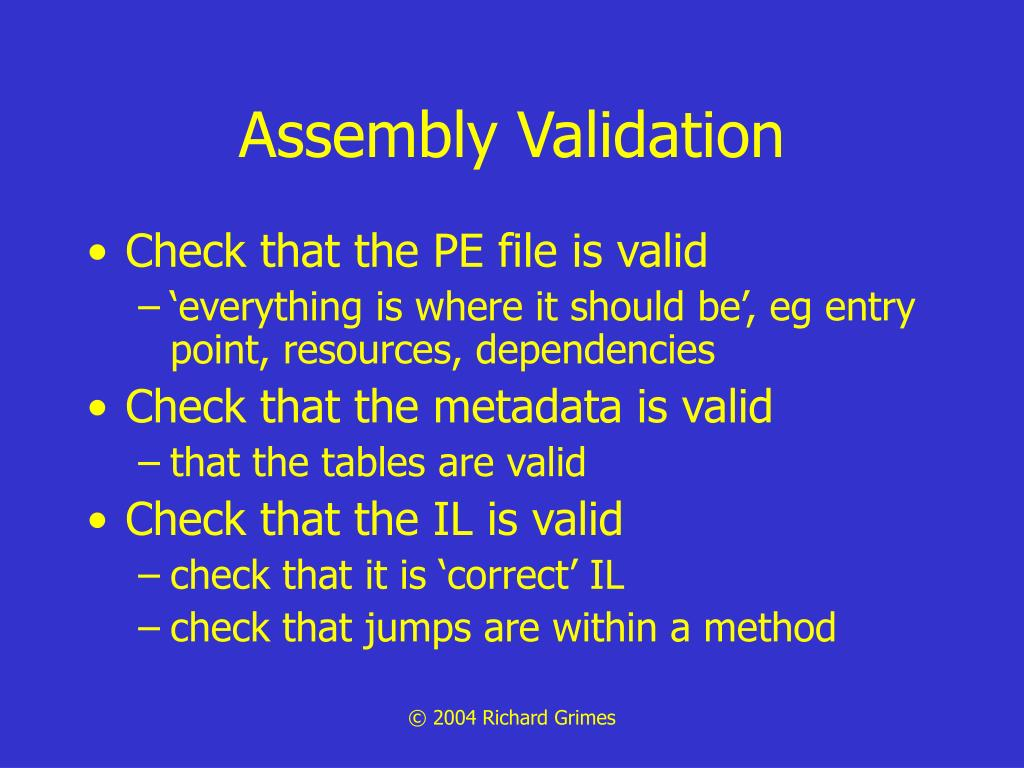 Assembly Validation