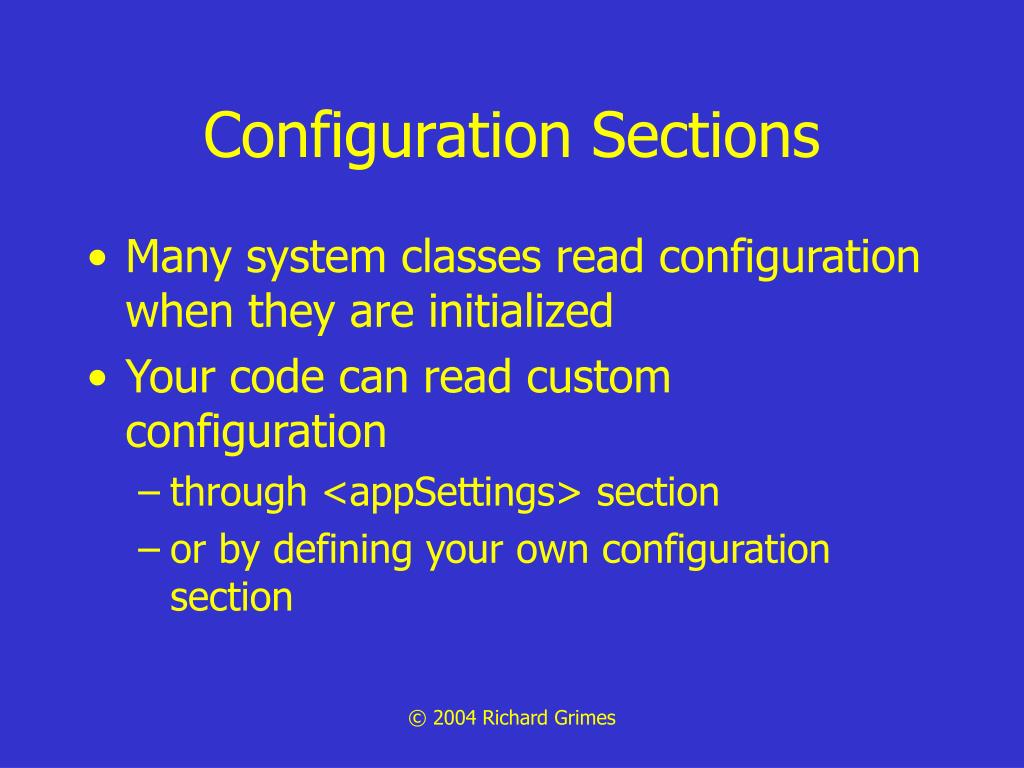 Configuration Sections