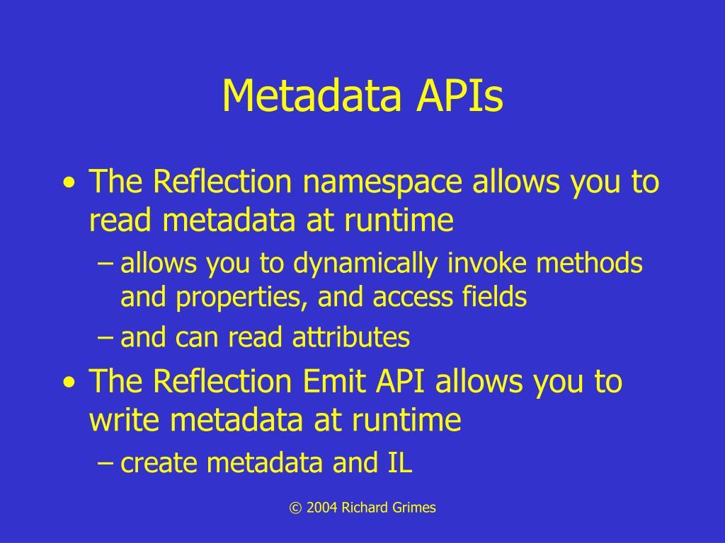 Metadata APIs
