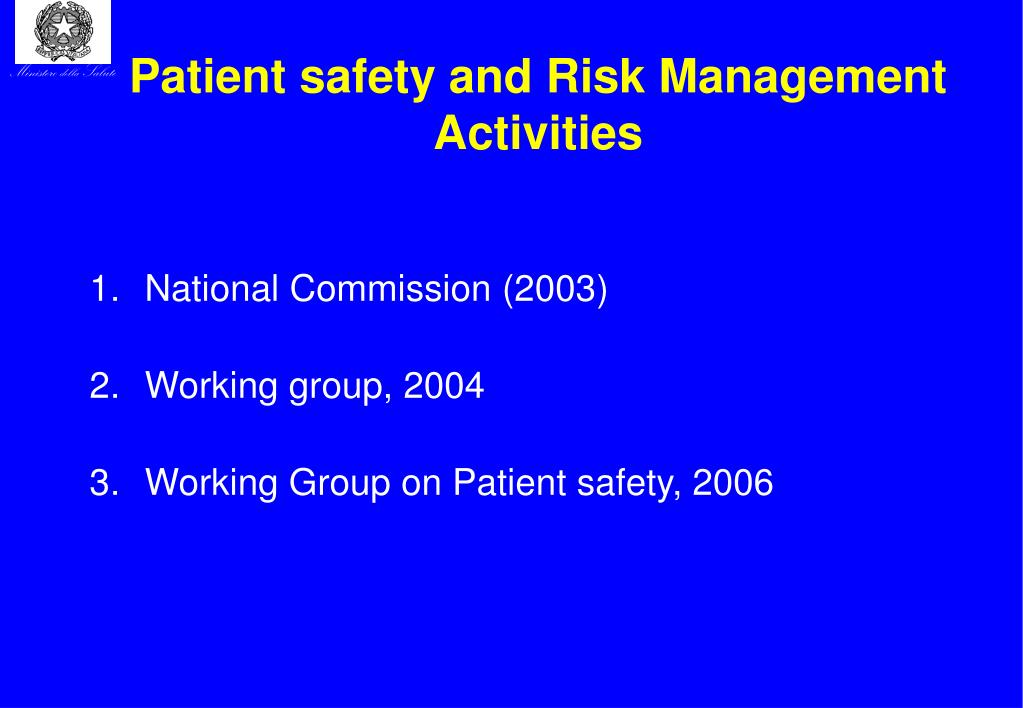 risk management and patient safety in a hospital Some hospitals recognize further that providing patients with safe,  at aurora  health care, risk management and patient safety are intertwined.