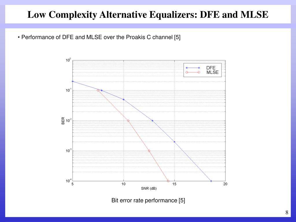Low Complexity Alternative Equalizers: DFE and MLSE