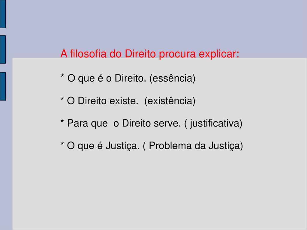 A filosofia do Direito procura explicar: