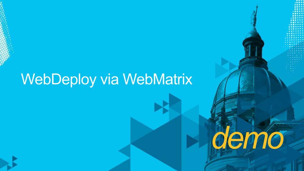 WebDeploy via WebMatrix