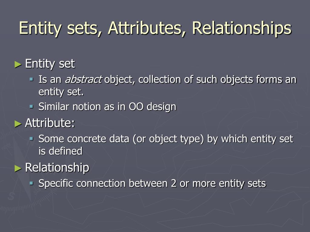 Entity sets, Attributes, Relationships